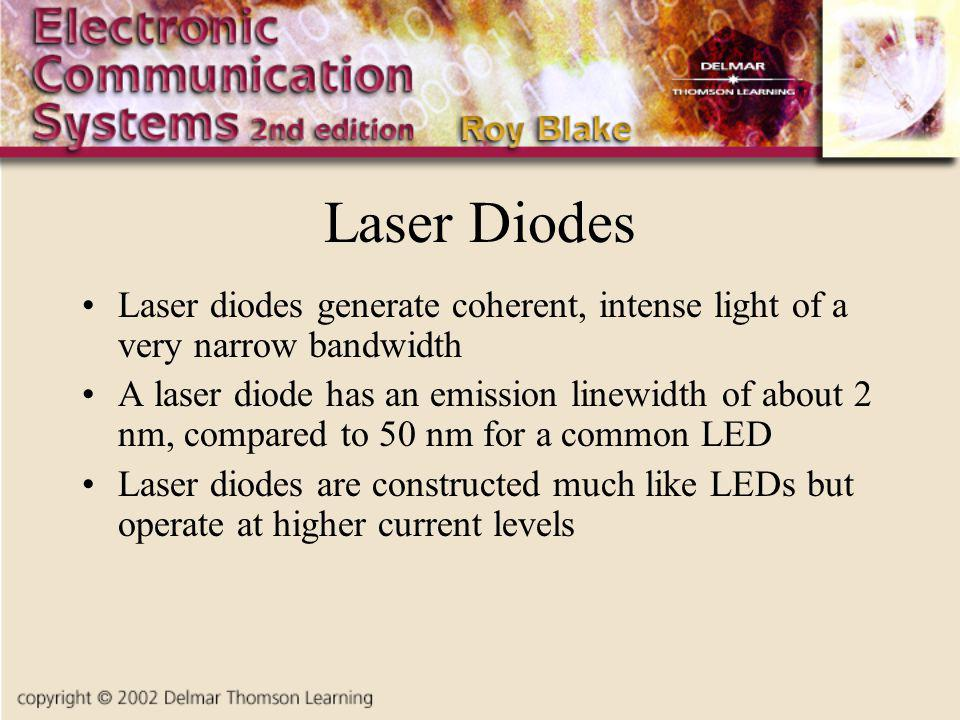 Laser Diodes Laser diodes generate coherent, intense light of a very narrow bandwidth.
