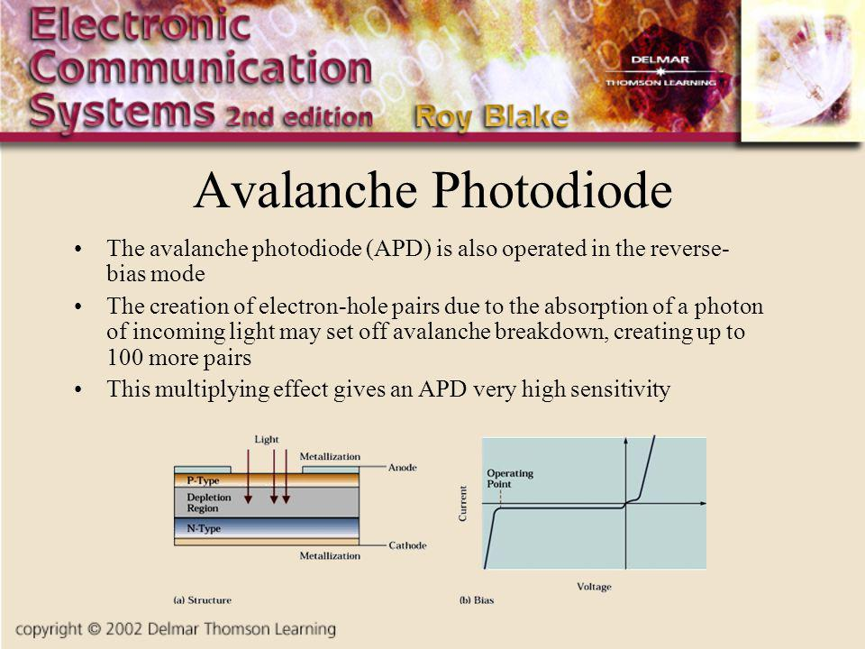 Avalanche Photodiode The avalanche photodiode (APD) is also operated in the reverse- bias mode.