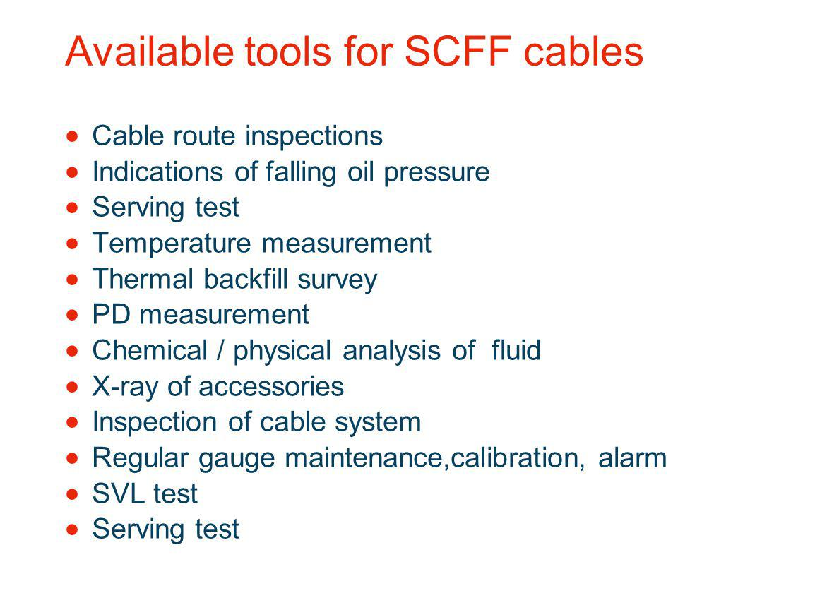 Available tools for SCFF cables