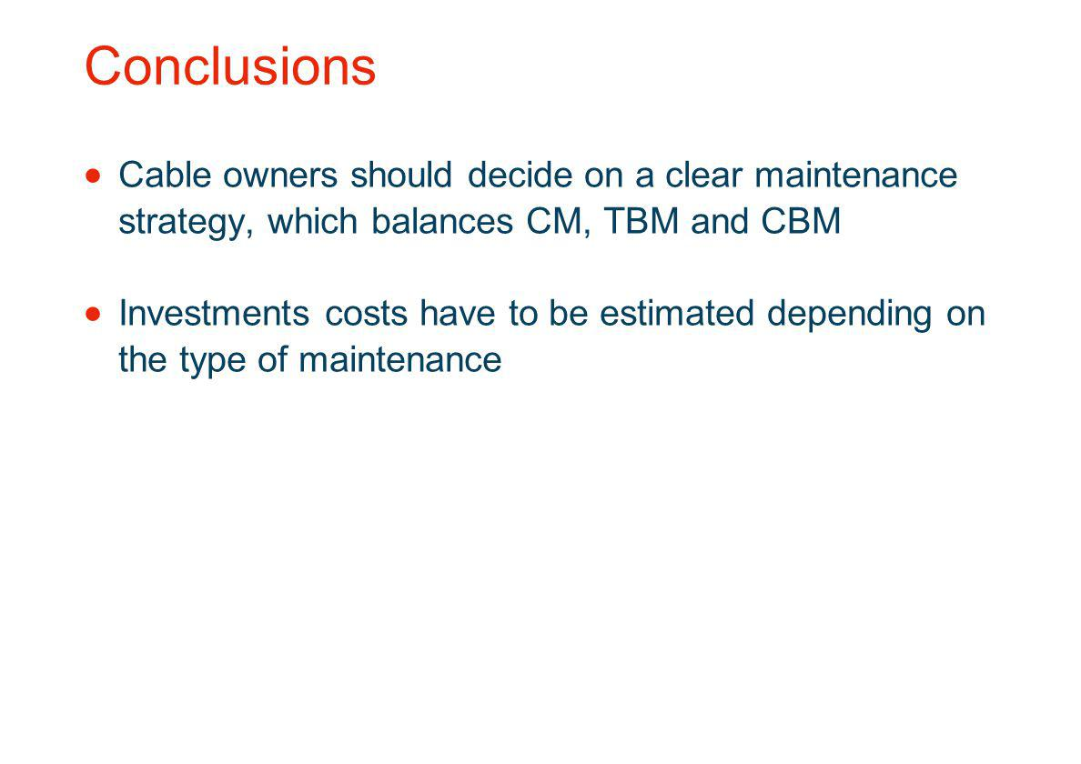 Conclusions Cable owners should decide on a clear maintenance strategy, which balances CM, TBM and CBM.