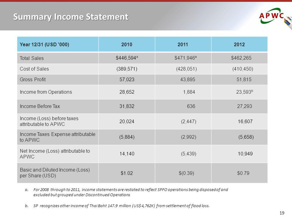 Summary Income Statement