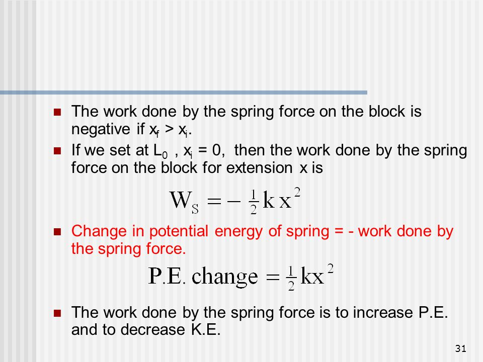 The work done by the spring force on the block is negative if xf > xi.