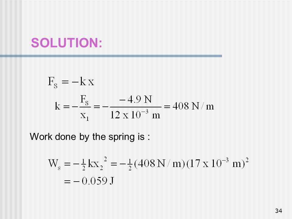 SOLUTION: Work done by the spring is :