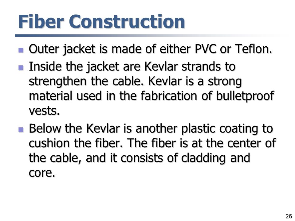 Fiber Construction Outer jacket is made of either PVC or Teflon.