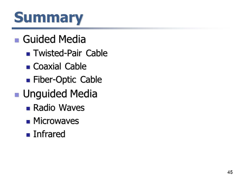 Summary Guided Media Unguided Media Twisted-Pair Cable Coaxial Cable