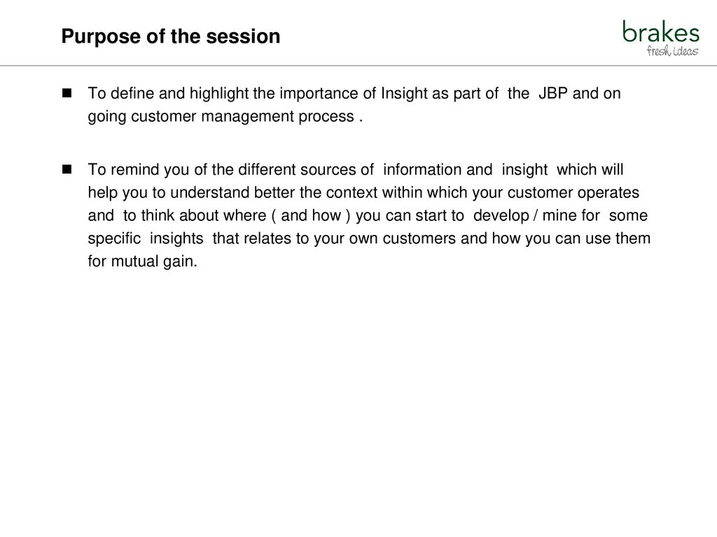 Purpose Of The Session To Define And Highlight Importance Insight As Part