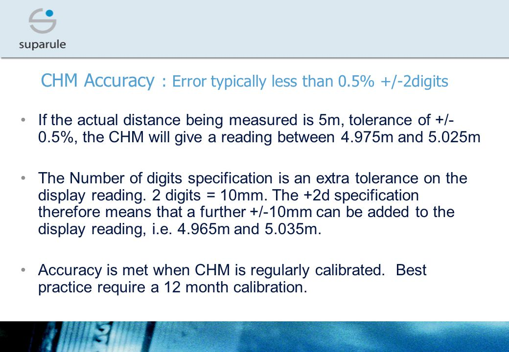 CHM Accuracy : Error typically less than 0.5% +/-2digits