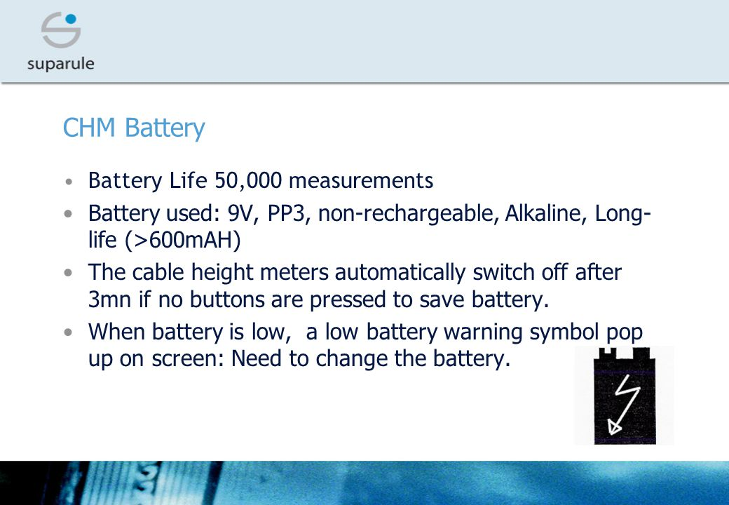 CHM Battery Battery Life 50,000 measurements