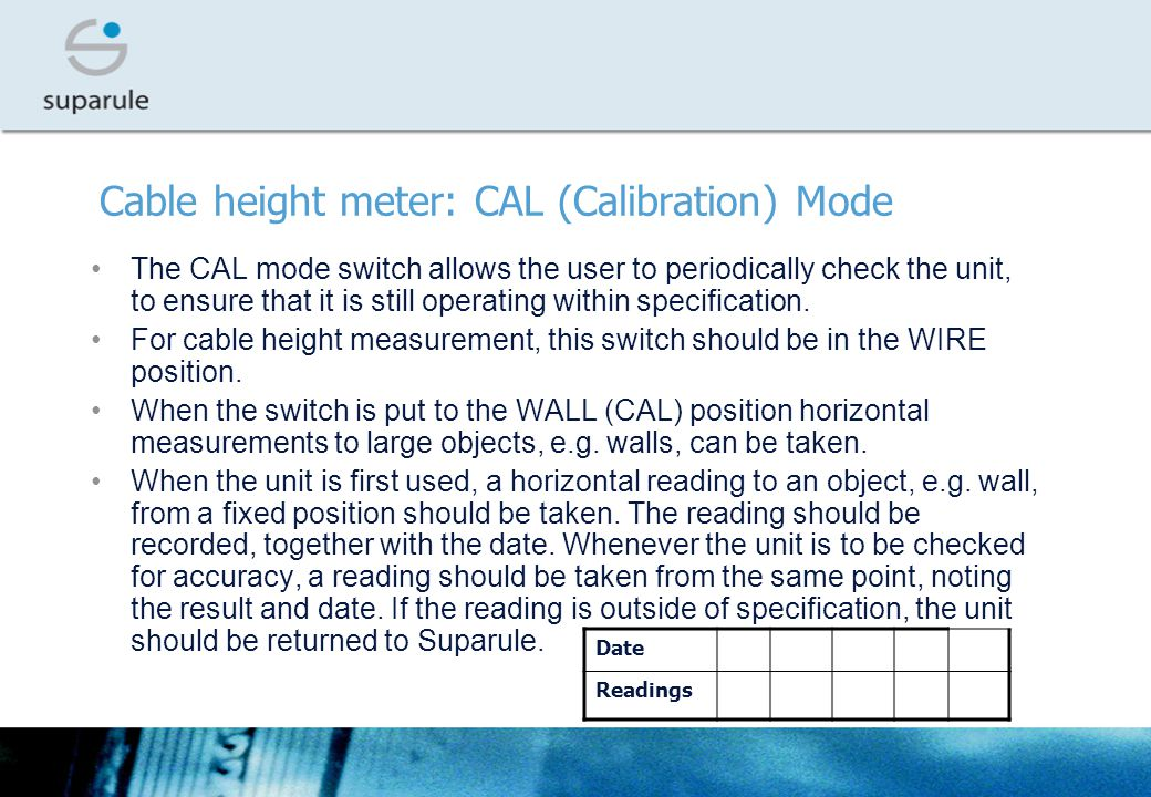 Cable height meter: CAL (Calibration) Mode