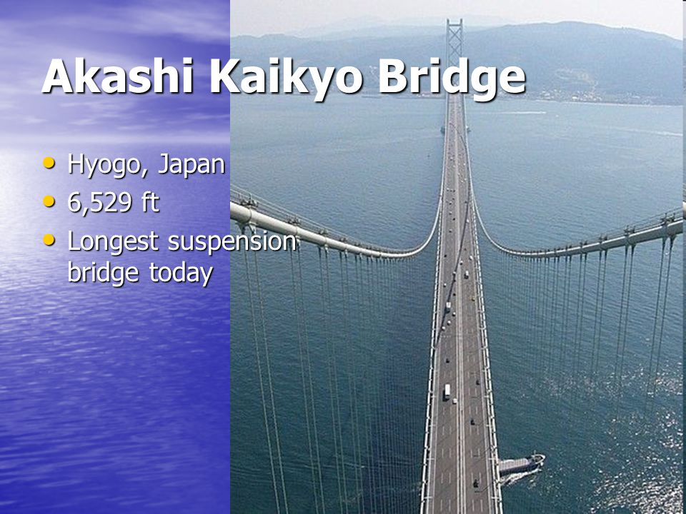 Akashi Kaikyo Bridge Hyogo, Japan 6,529 ft