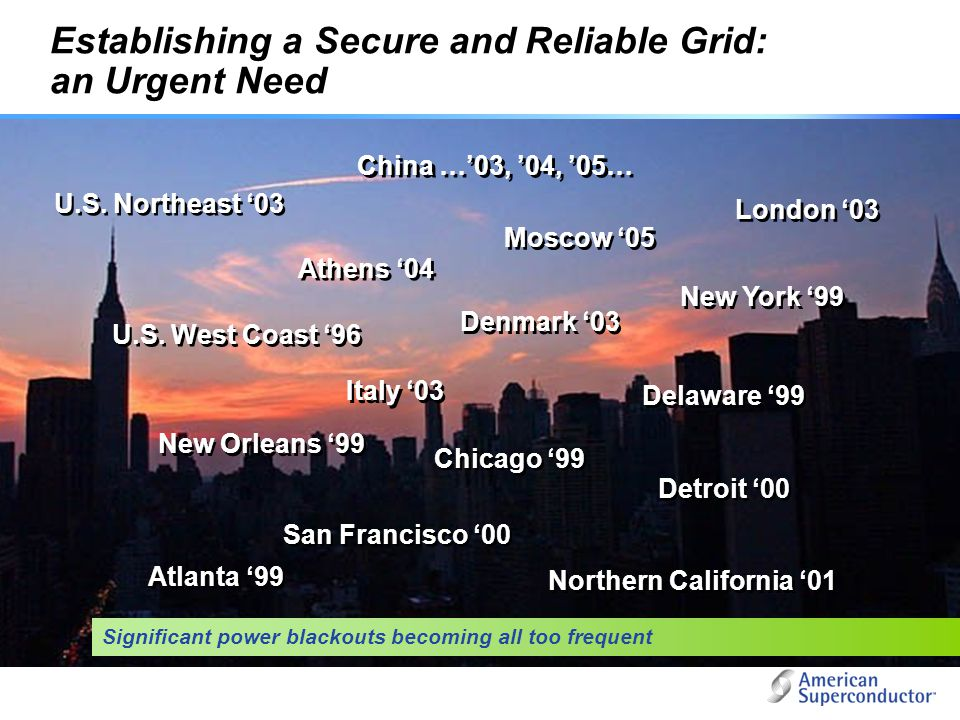 Establishing a Secure and Reliable Grid: an Urgent Need