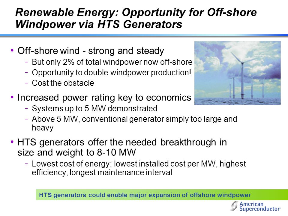 Renewable Energy: Opportunity for Off-shore Windpower via HTS Generators