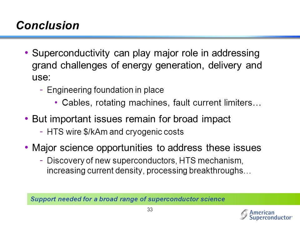 Conclusion Superconductivity can play major role in addressing grand challenges of energy generation, delivery and use: