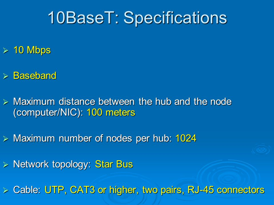 10BaseT: Specifications