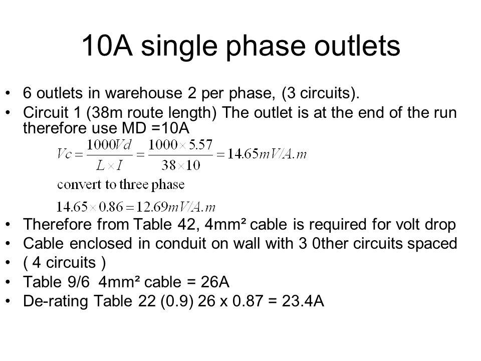 10A single phase outlets 6 outlets in warehouse 2 per phase, (3 circuits).