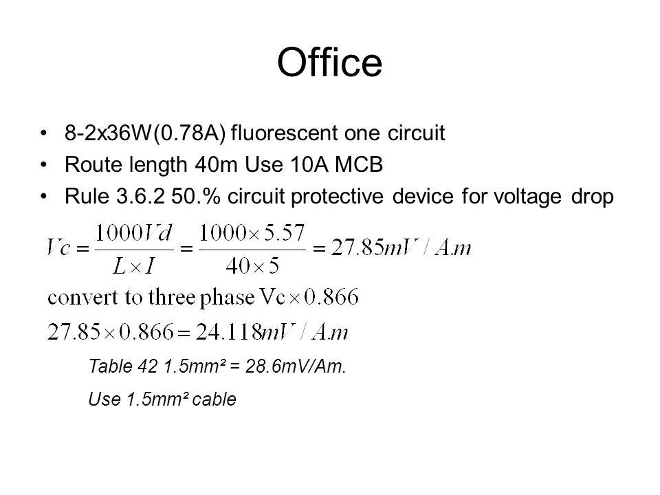 Office 8-2x36W(0.78A) fluorescent one circuit