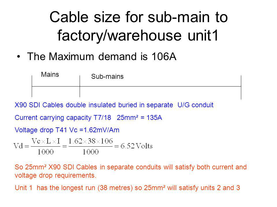 Cable size for sub-main to factory/warehouse unit1