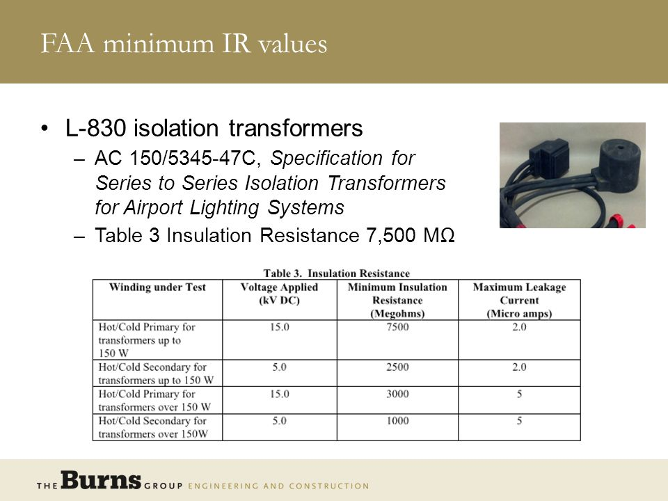FAA minimum IR values L-830 isolation transformers