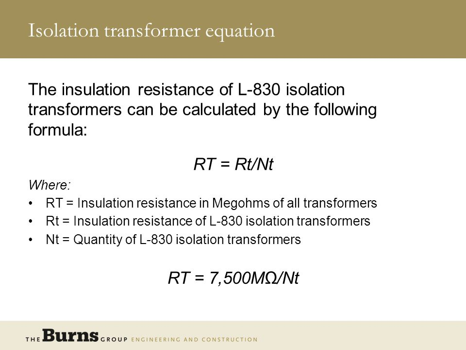 Isolation transformer equation