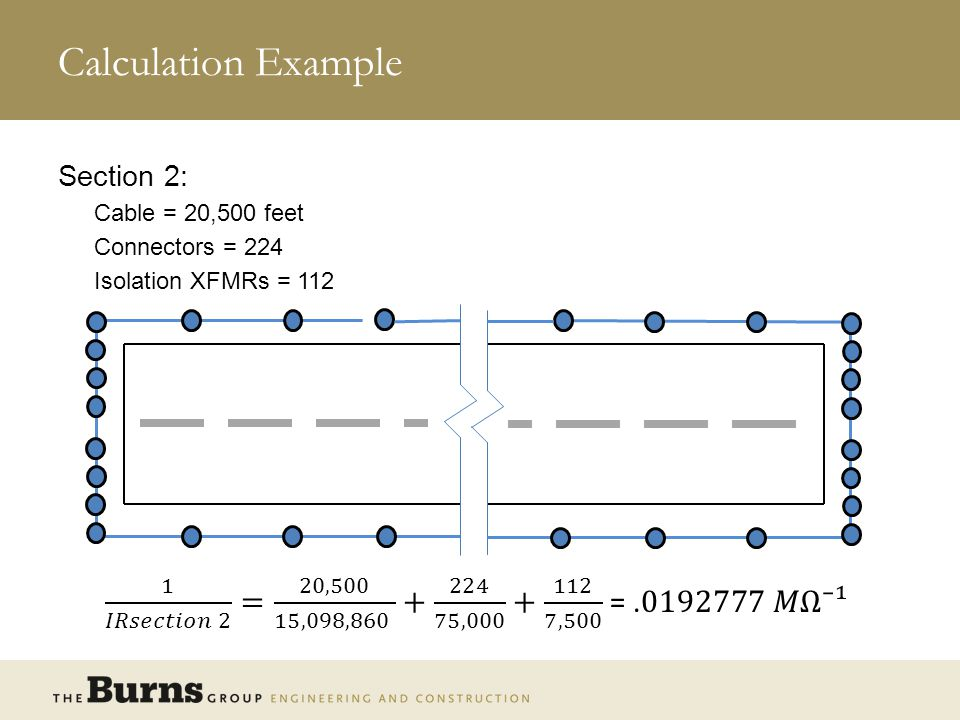 Calculation Example Section 2: Cable = 20,500 feet. Connectors = 224. Isolation XFMRs = 112.
