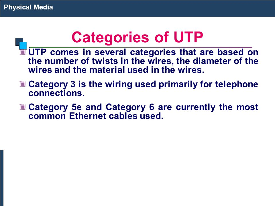 Physical Media Categories of UTP.