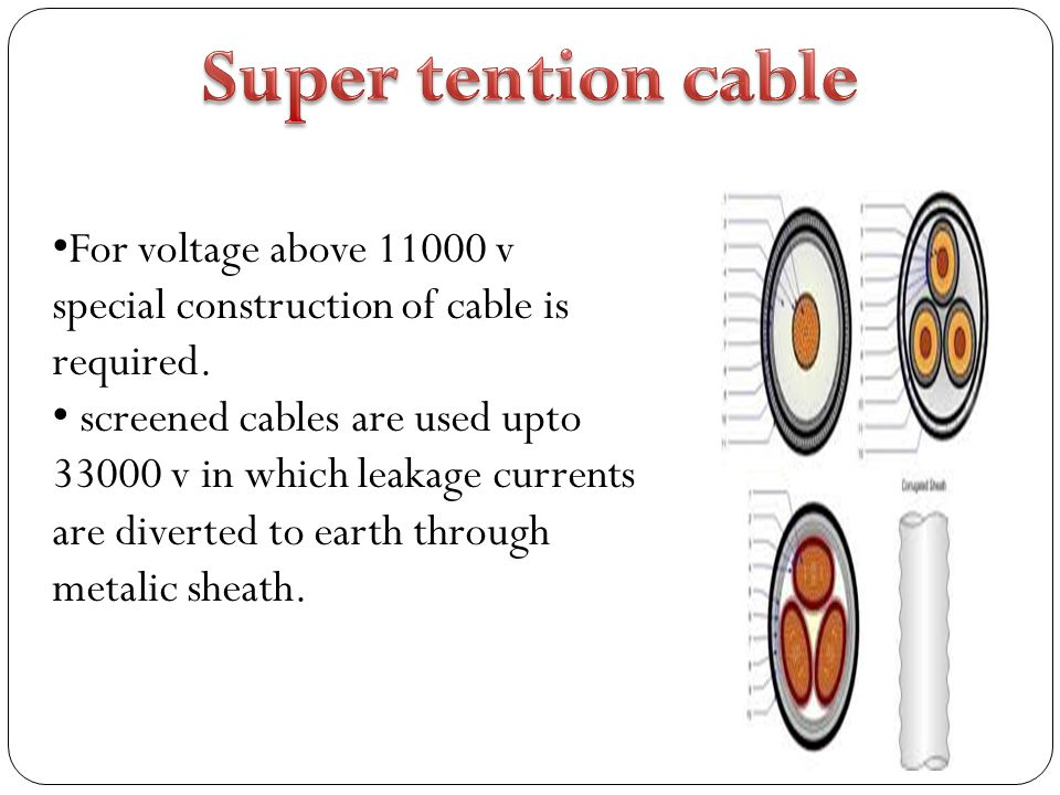 Super tention cable For voltage above 11000 v special construction of cable is required.