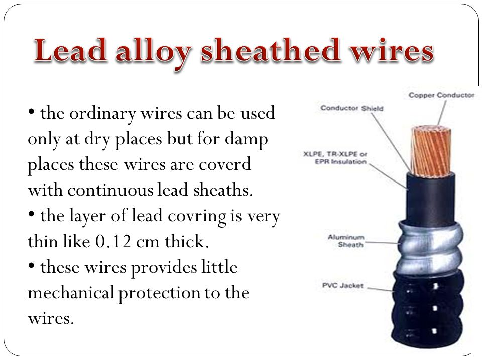 Lead alloy sheathed wires