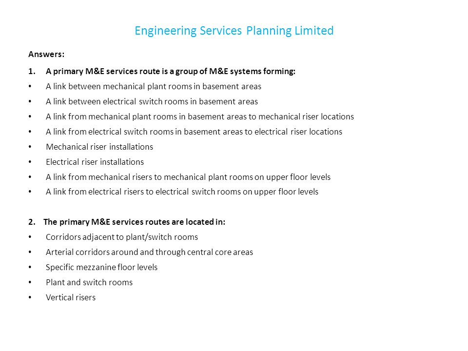 Engineering Services Planning Limited