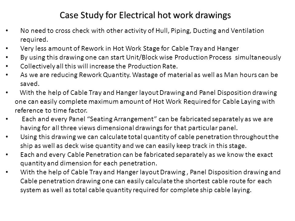 Case Study for Electrical hot work drawings