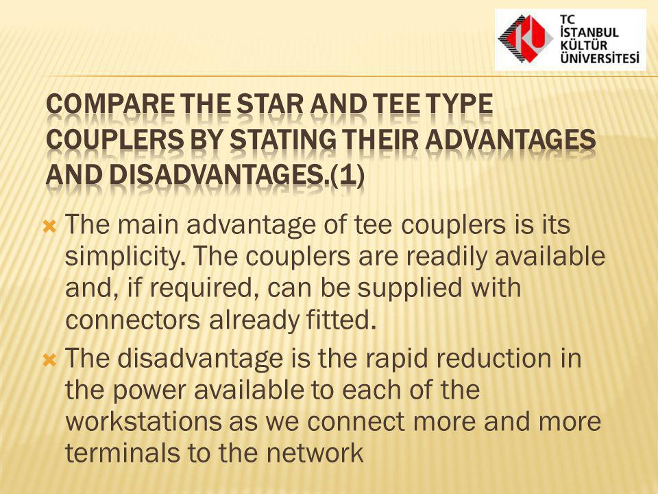 Compare the star and tee type couplers by stating their advantages and disadvantages.(1)