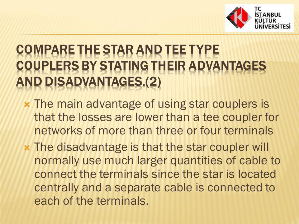 Compare the star and tee type couplers by stating their advantages and disadvantages.(2)