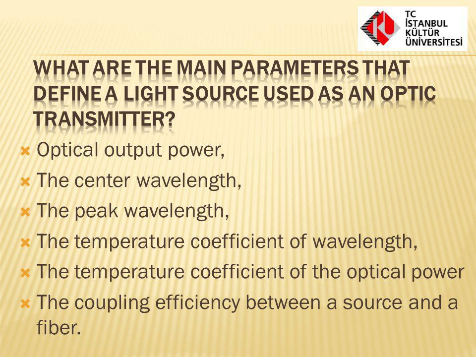 What are the main parameters that define a light source used as an optic transmitter