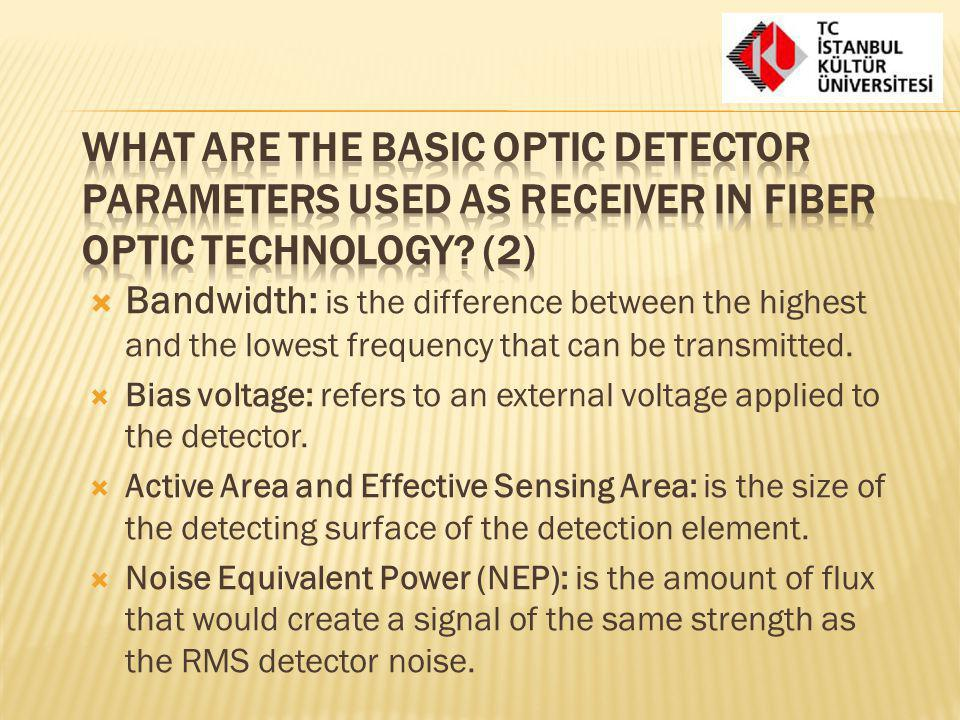 What are the basic optic detector parameters used as receiver in fiber optic technology (2)