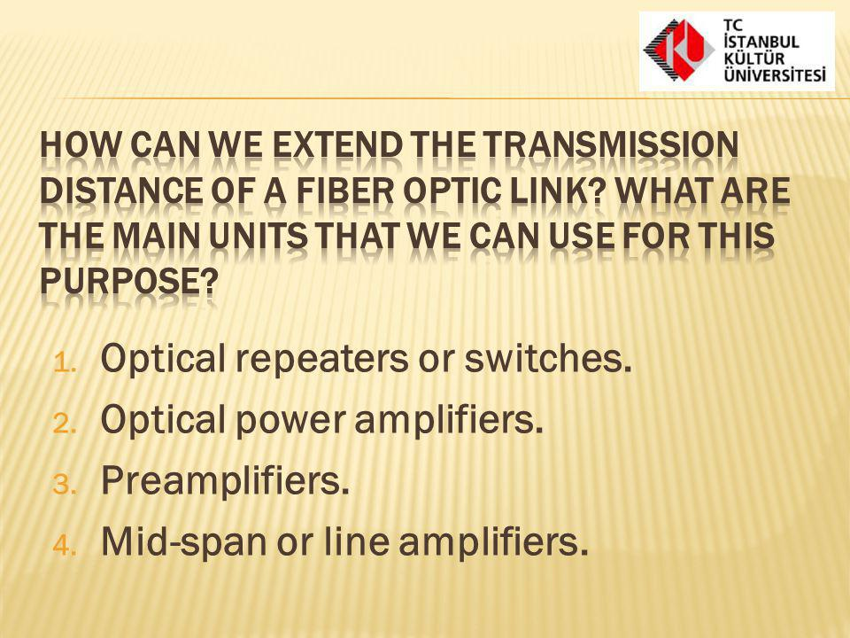 Optical repeaters or switches. Optical power amplifiers.
