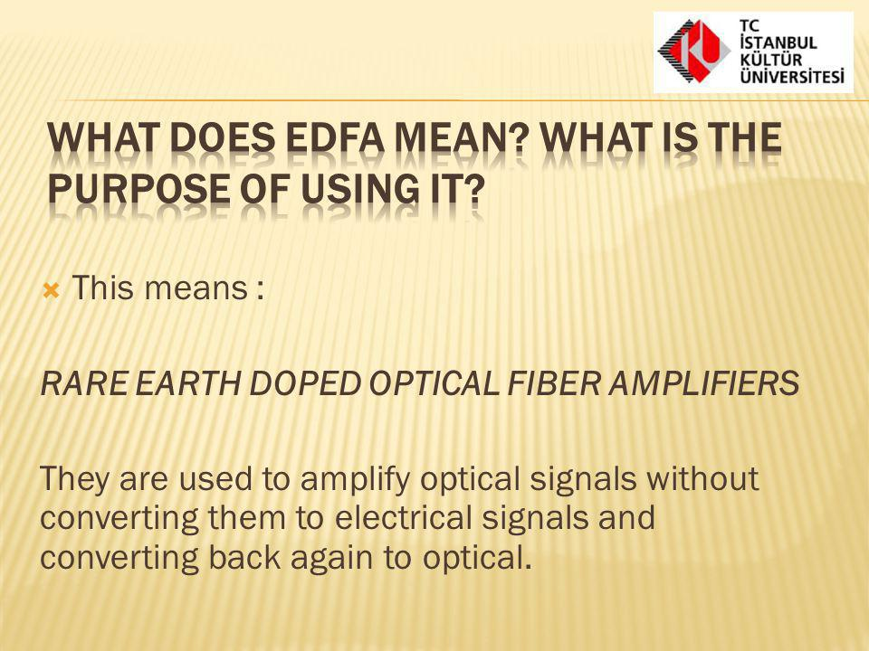 What does EDFA mean What is the purpose of using it