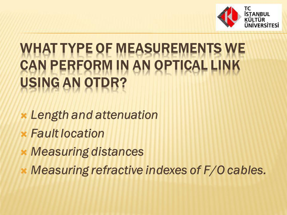 What type of measurements we can perform in an optical link using an OTDR