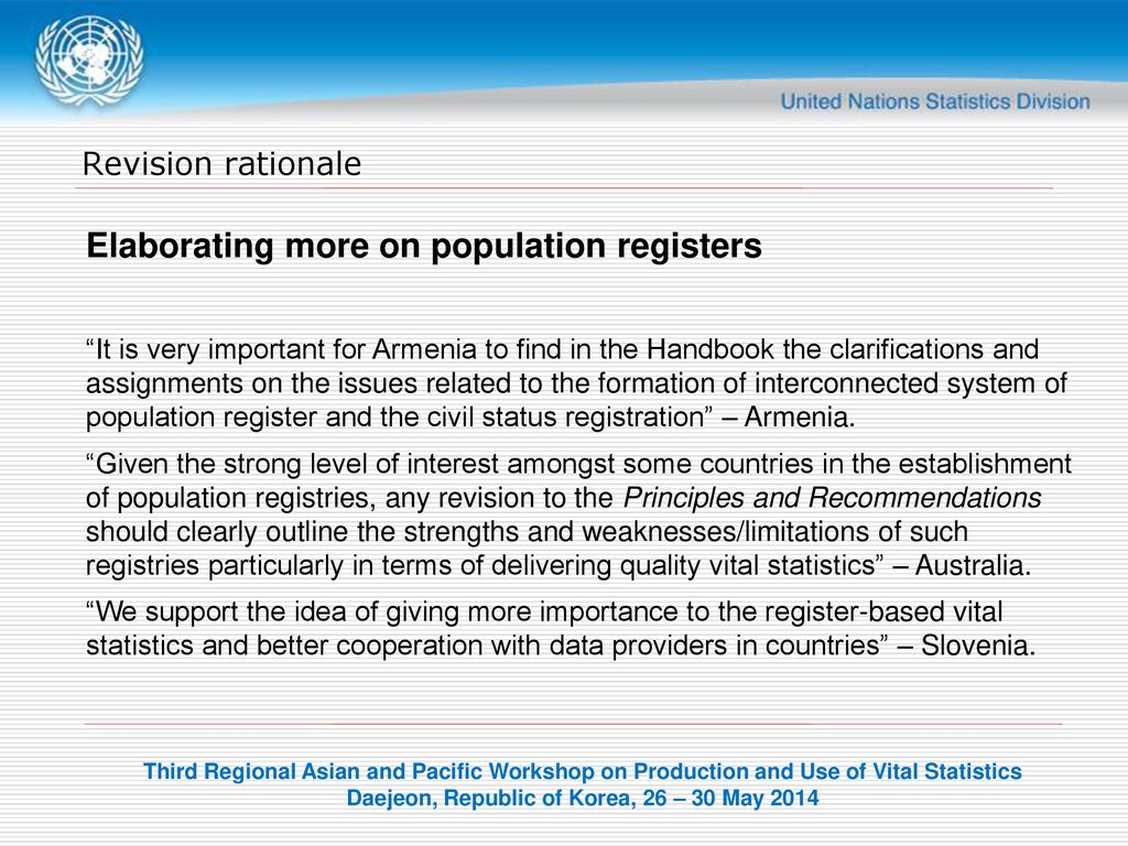 Principles and Recommendations for a Vital Statistics System