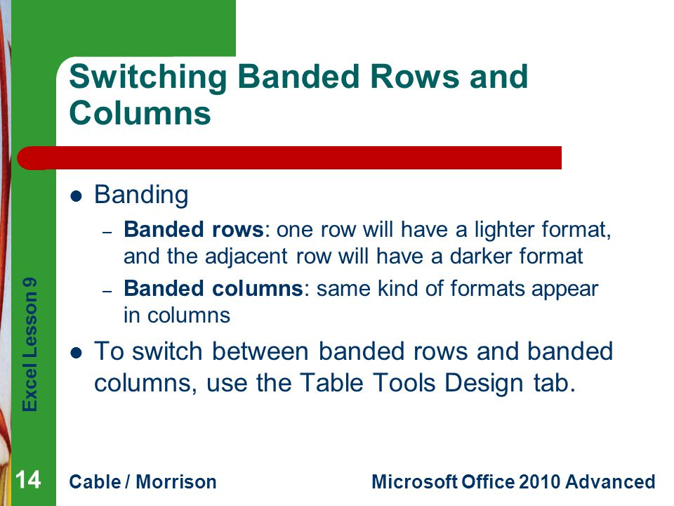 Switching Banded Rows and Columns
