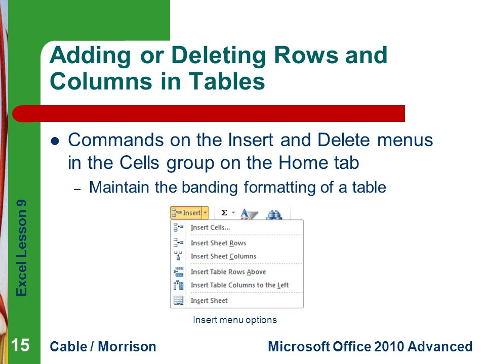 Adding or Deleting Rows and Columns in Tables