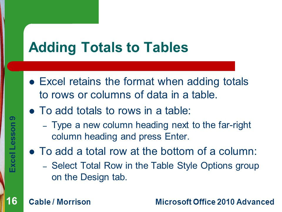 Adding Totals to Tables