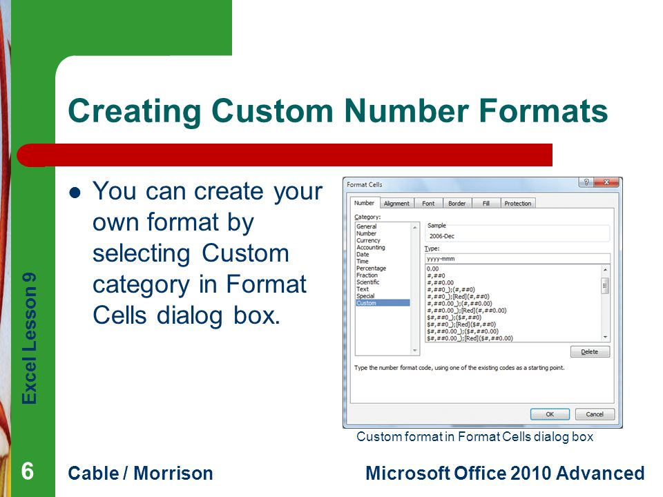 Creating Custom Number Formats