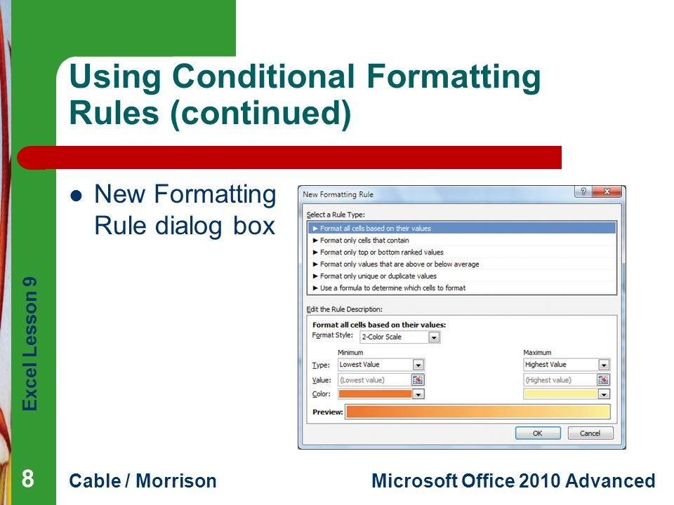 Using Conditional Formatting Rules (continued)