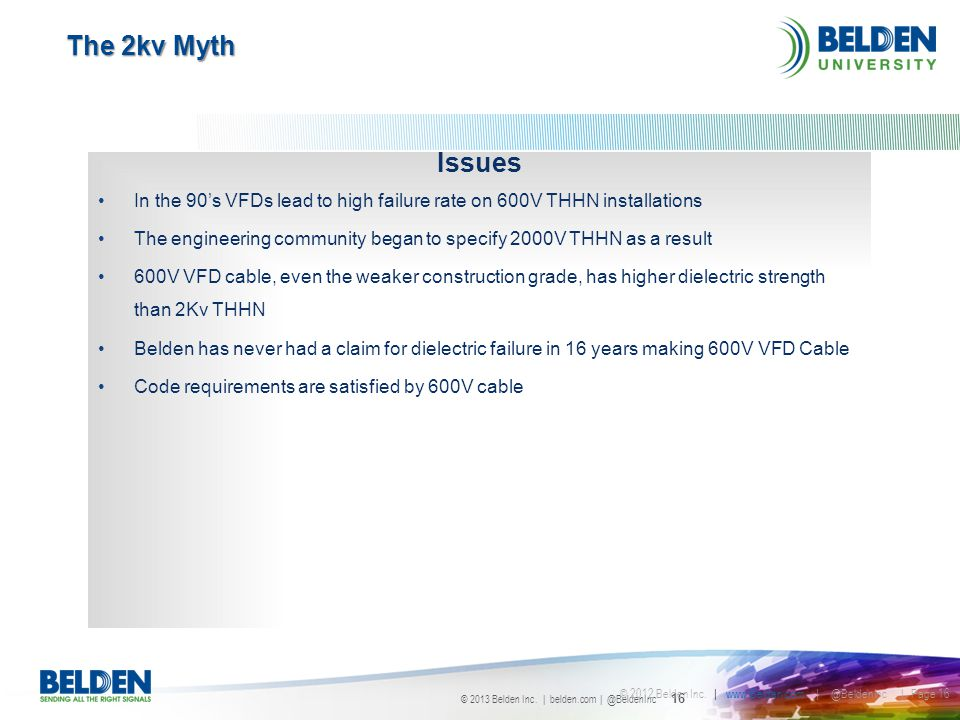 The 2kv Myth Issues. In the 90's VFDs lead to high failure rate on 600V THHN installations.
