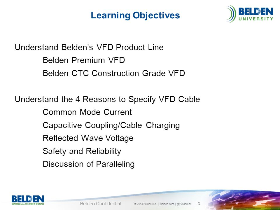 Learning Objectives Understand Belden's VFD Product Line
