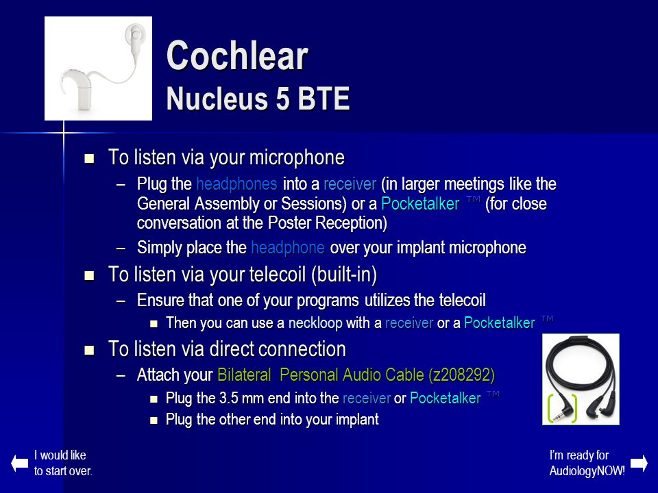 Cochlear Nucleus 5 BTE To listen via your microphone
