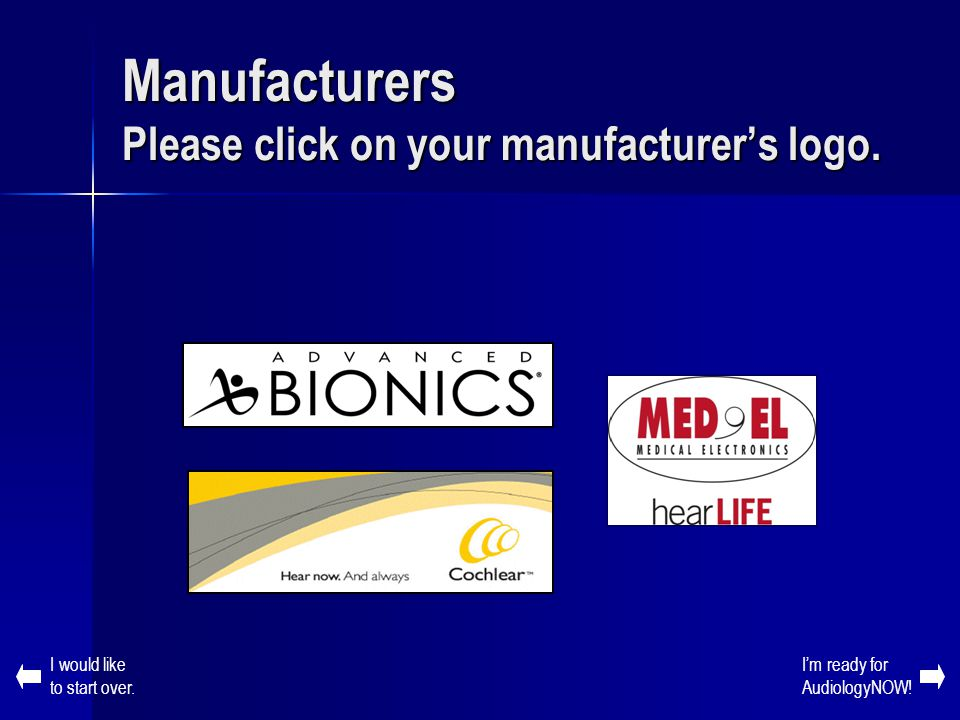 Manufacturers Please click on your manufacturer's logo.