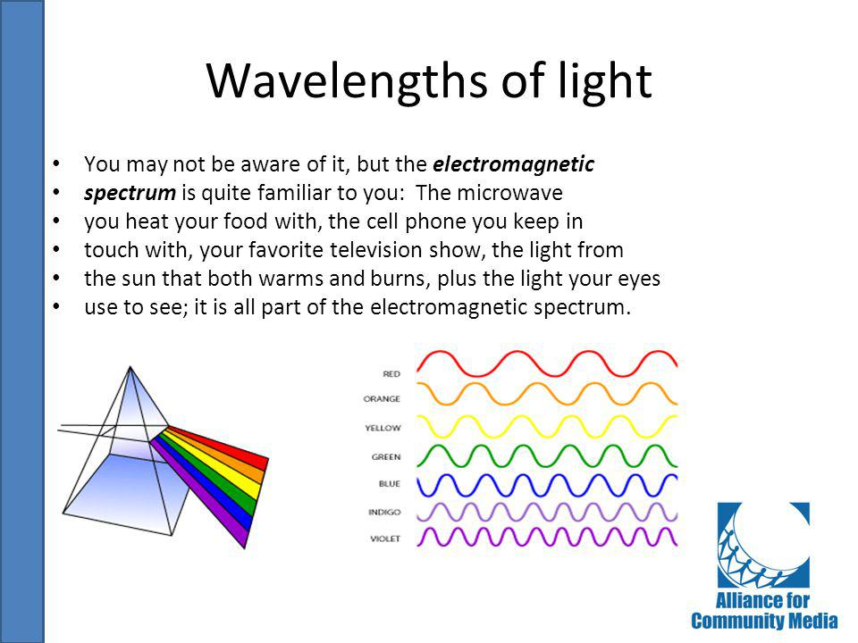 Wavelengths of light You may not be aware of it, but the electromagnetic. spectrum is quite familiar to you: The microwave.