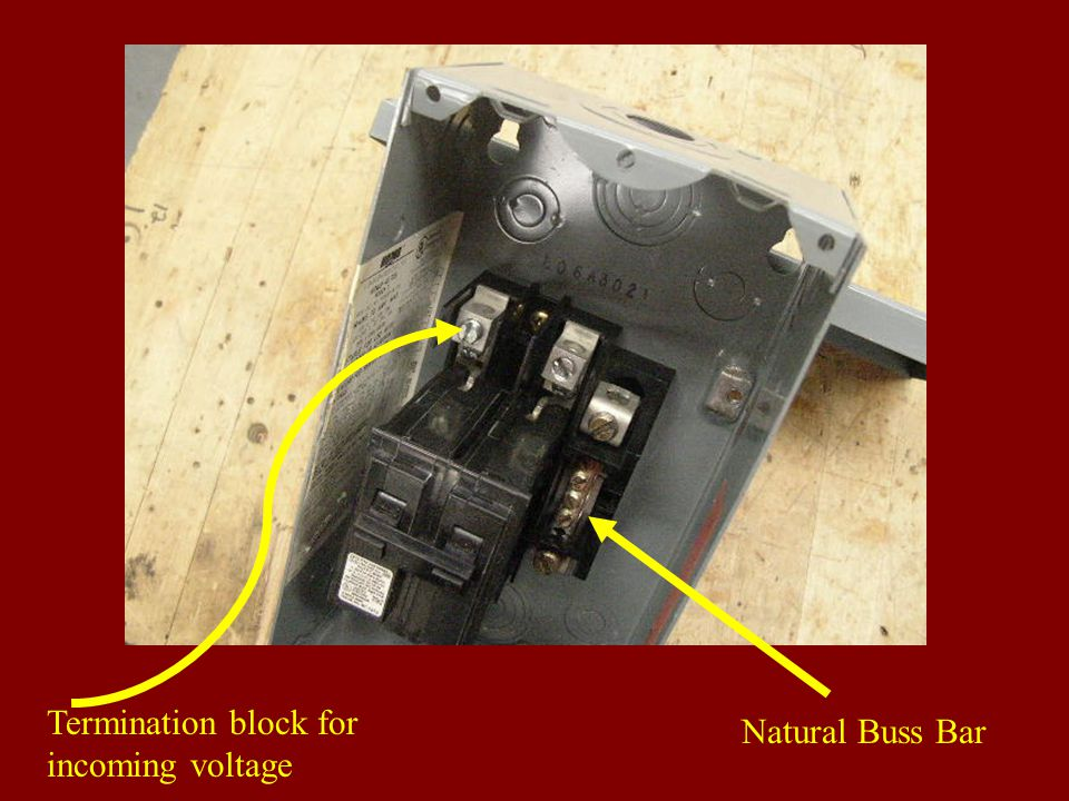 Termination block for incoming voltage