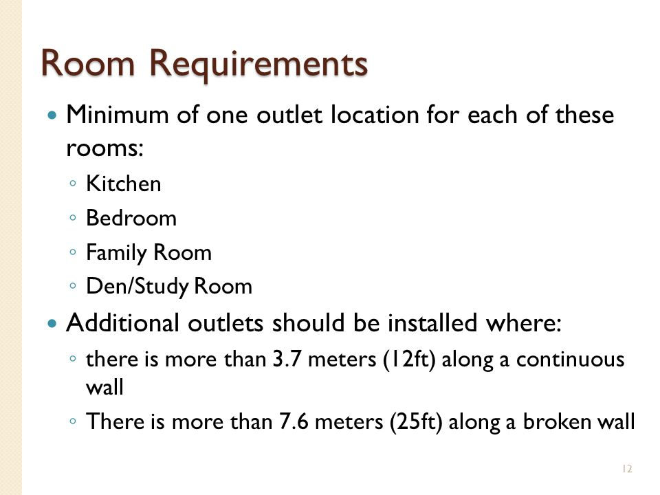 Room Requirements Minimum of one outlet location for each of these rooms: Kitchen. Bedroom. Family Room.