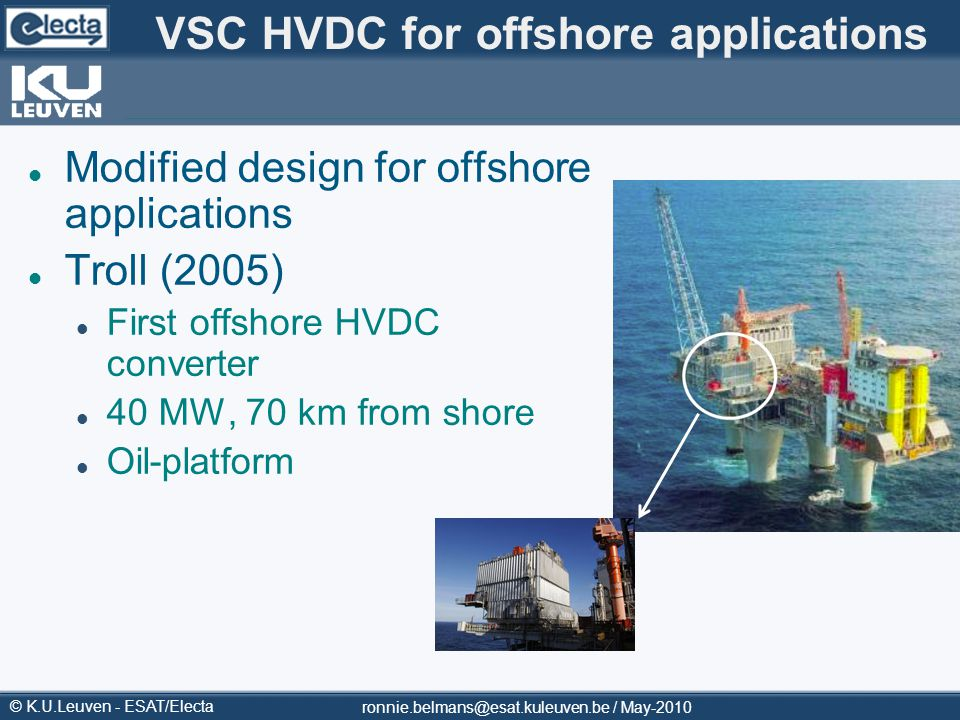 VSC HVDC for offshore applications